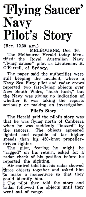 'Flying Saucer' Navy Pilot's Story - The Southland Times 12-17-1954