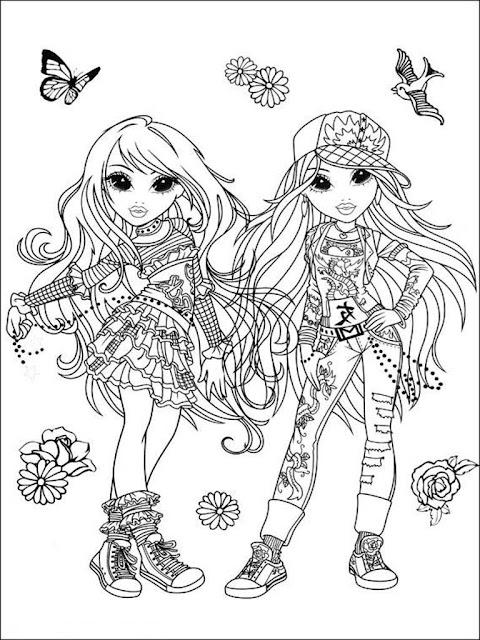 gambar mewarnai Moxie Girlz untuk anak perempuan