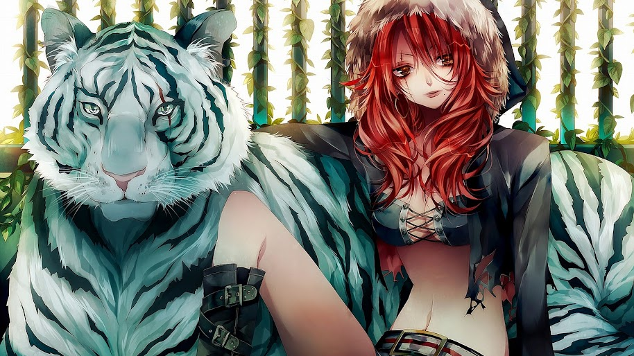 Anime, Girl, White Tiger, 4K, 3840x2160, #43