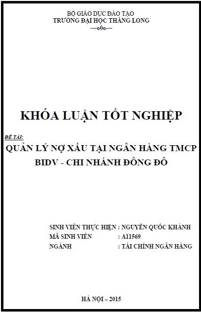 Quản lý nợ xấu tại ngân hàng TMCP BIDV - Chi nhánh Đông Đô