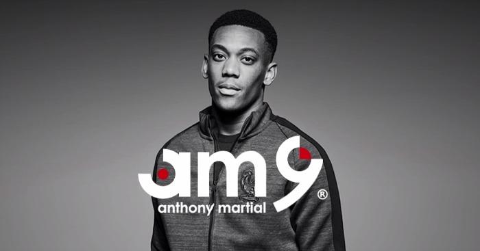 Anthony Martial và logo thương hiệu AM9