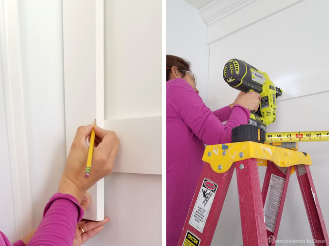 Cristina GAray driving installing boards with Ryobi Pneumatic AirStrike Nailer
