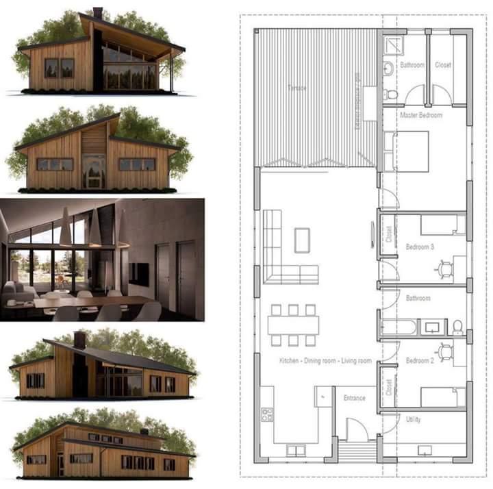 30+ Contoh Desain Rumah Minimalis Modern atap belah tengah