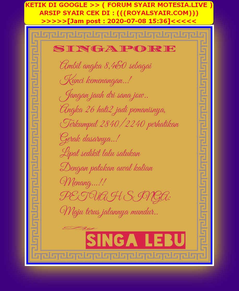 Kode syair Singapore Rabu 8 Juli 2020 24