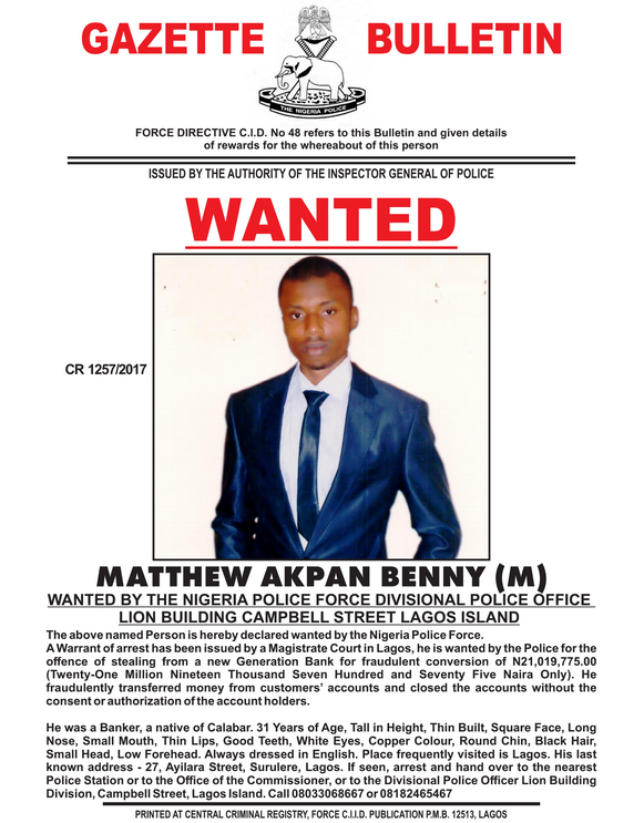 Police declare 9 bankers wanted over stealing of customers