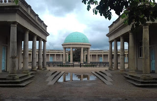 The pavilion and bandstand at Eaton Park in Norwich