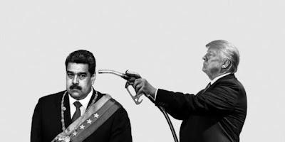 Trump aponta uma mangueira de gasolina para a cabeça de Maduro