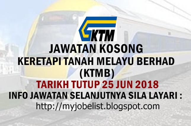 Jawatan Kosong di Keretapi Tanah Melayu Berhad (KTMB) Jun 2018