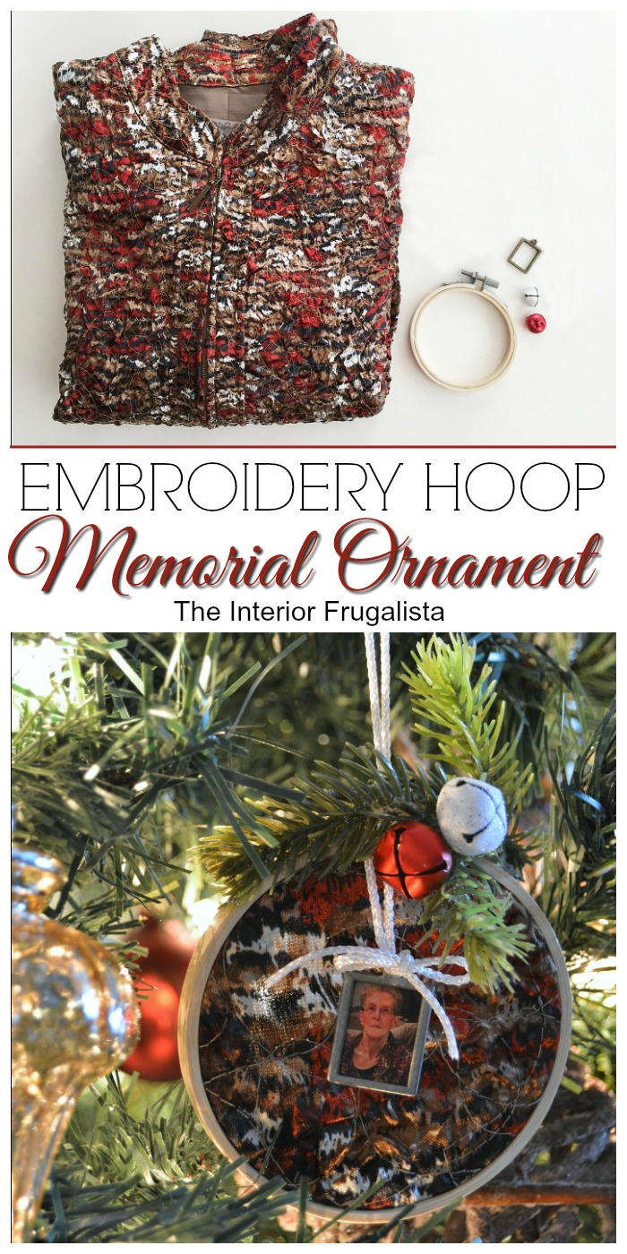 Embroidery Hoop Memorial Ornament With Mom s Jacket