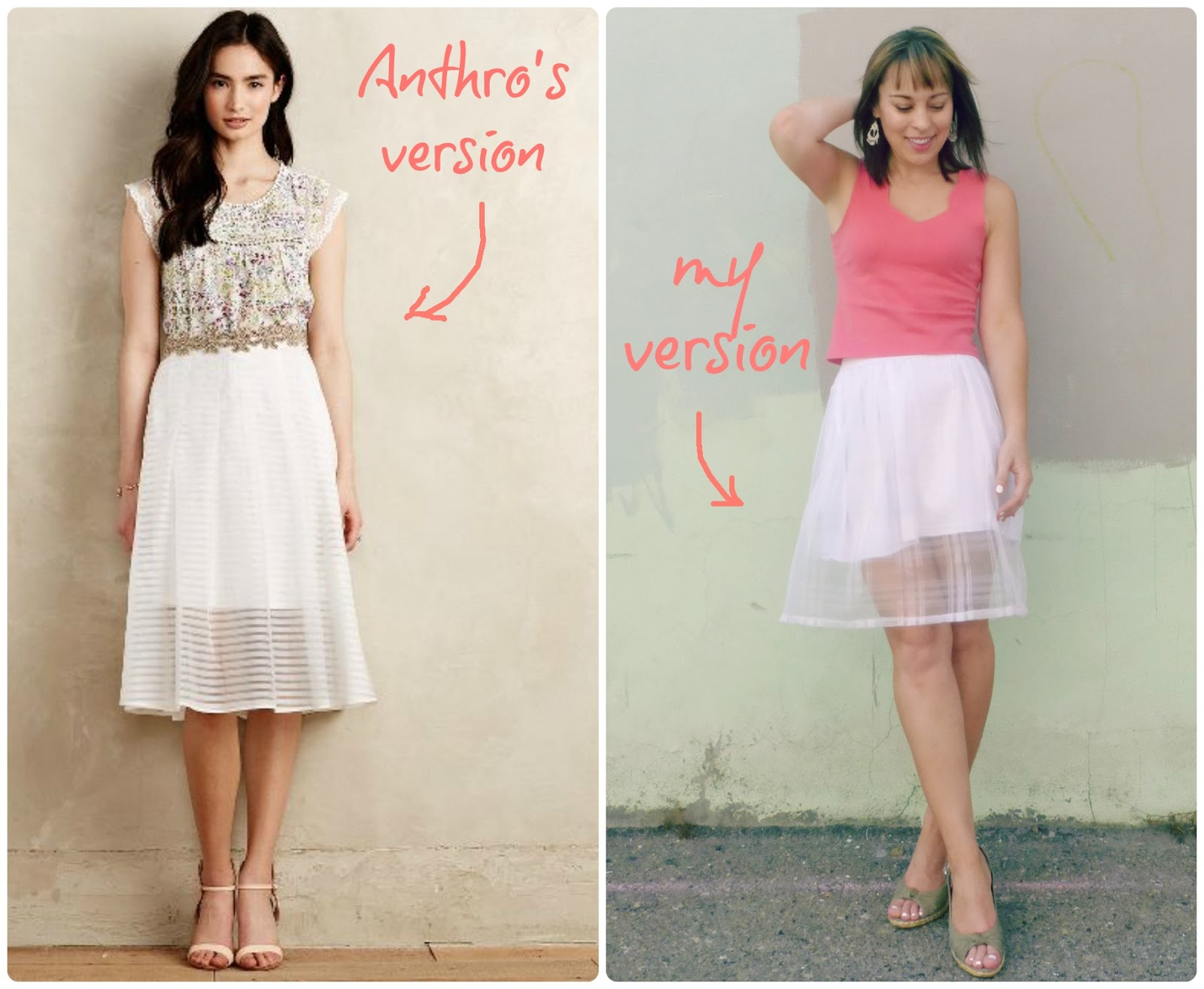 anthropologie knock off shadow stripe skirt