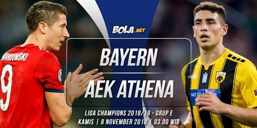 Prediksi Bayern Munchen vs AEK Athena 8 November 2018
