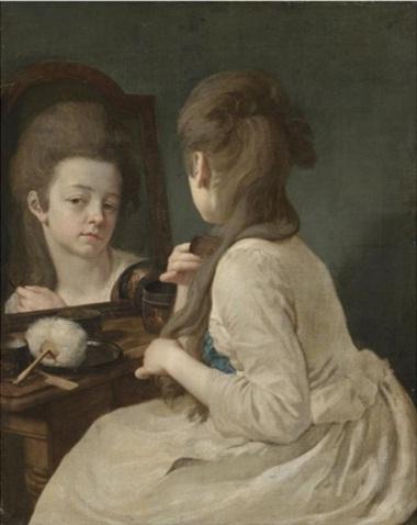 Johann Anton de Peters Молодая леди расчесывает волосы