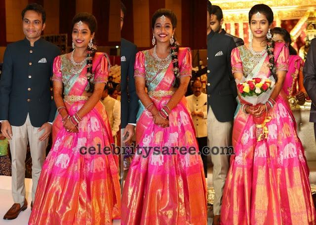 Bride Laya in Ikkat Half Saree
