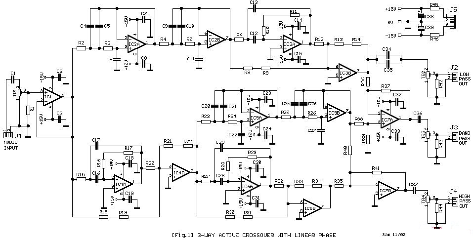 Simple 3-Way Active Crossover Circuit Diagram