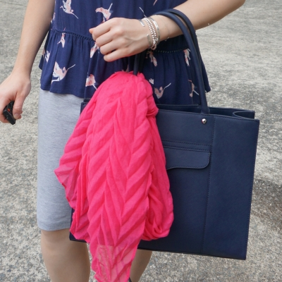 Fashion Scarf Girl plain crinkle scarf in hot pink on navy rebecca minkoff mab tote   away from the blue