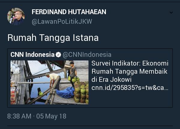 Survei Indikator: Ekonomi Rumah Tangga Menaik di Era Jokowi, Warganet: Rumah Tangga ISTANA!