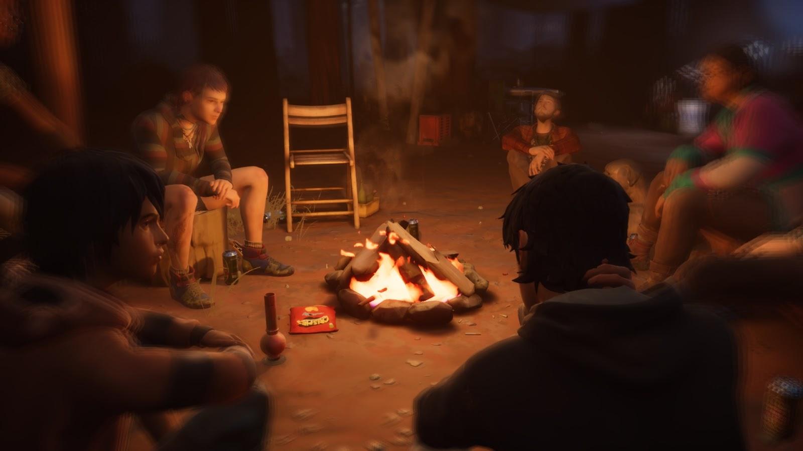 """A Diaz tesók többekkel tábortűz körül ülve beszélgetnek, sörözgetnek, füvezgetnek, ki-ki """"ízlése szerint""""."""