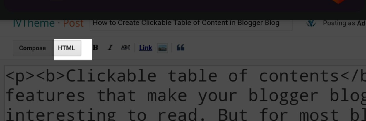 Insert Blogger Blog Post Table of Content - step 2