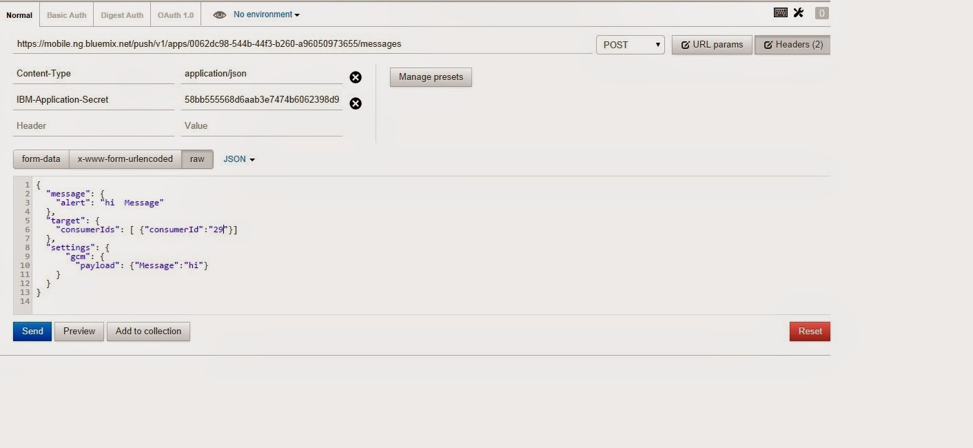 Send Push messages to Android Apps using Postman  | Bluemix Insights