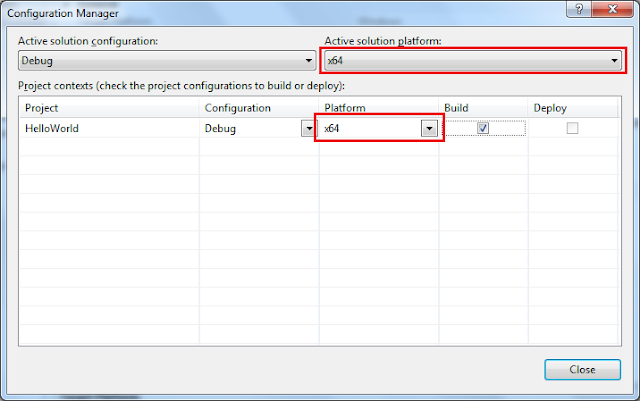Updating the Platform of the Visual Studio project in the Configuration Manager Window