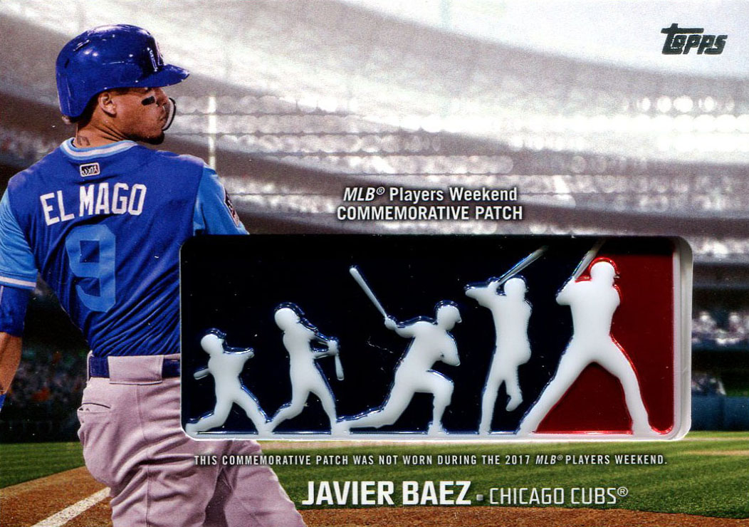 85196c4c627 Peter sent a couple of 2018 cards but the highlight of this exchange was  this Javier Baez manu-patch from the MLB Players Weekend.