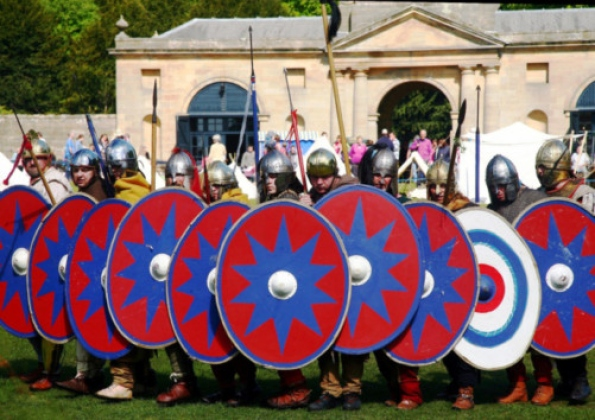 Roman soldiers camp at historic house