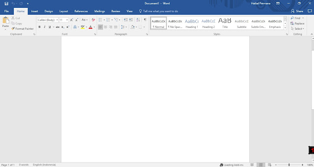 1. Buka Microsoft Office Word