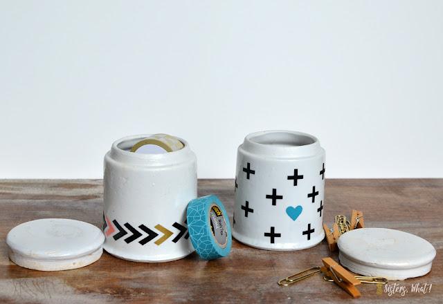 upcycled ceramics with vinyl stickers