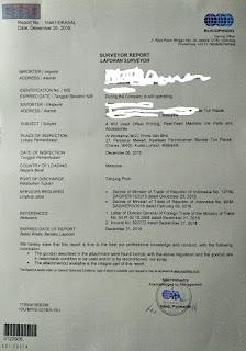 Contoh Surat Laporan Surveyor Sucofindo dan Laporan Surveyor KSO Sucofindo Indonesia