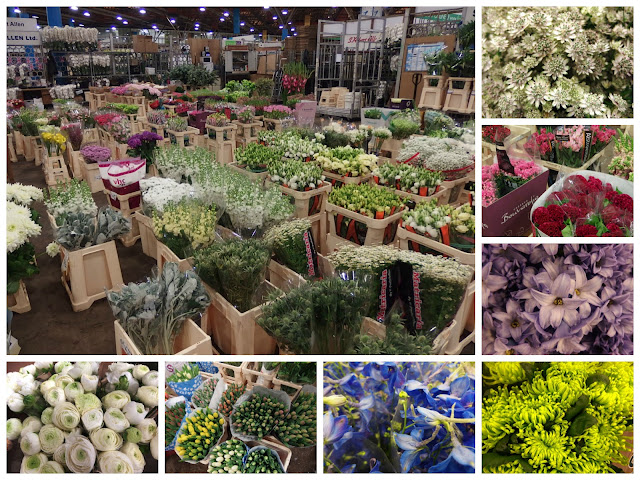 A collage of flowers at New Covent Garden Flower Market