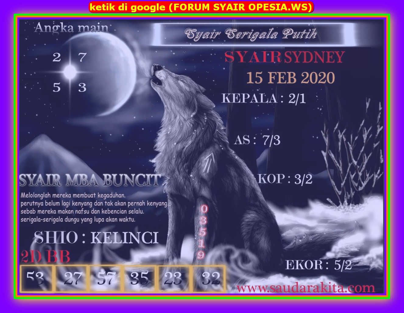 Kode syair Sydney Sabtu 15 Februari 2020 97