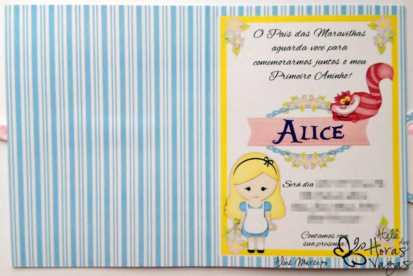 convite artesanal aniversário infantil alice no país das maravilhas wonderland azul e rosa menina
