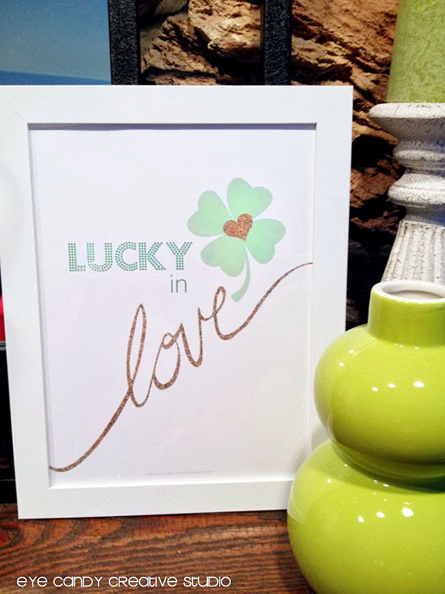 st patty day home decor, st pattys day art print, lucky in love art print