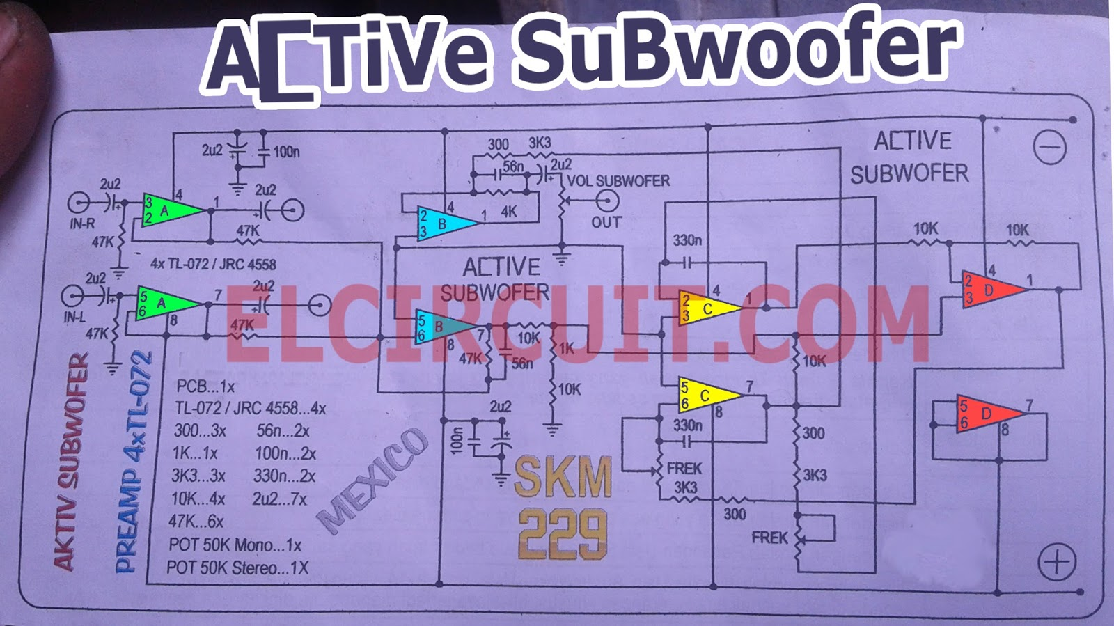 Schematic Diagram Of Power Amplifier For Subwoofer Circuit Projects Active Tl082 Tl072 4558 Electronic