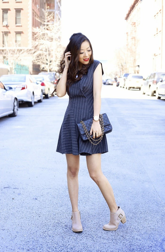 JOA pinstripe dress, dailylook, work outfit, outfit for work and for play,jcrew pinstripe dress, chanel classic flap bag, daniel wellington watch, catfootwear boots, baublebar statement necklace, street style, nyc, newyorker, spring outfit, outfit ideas, fashion blog