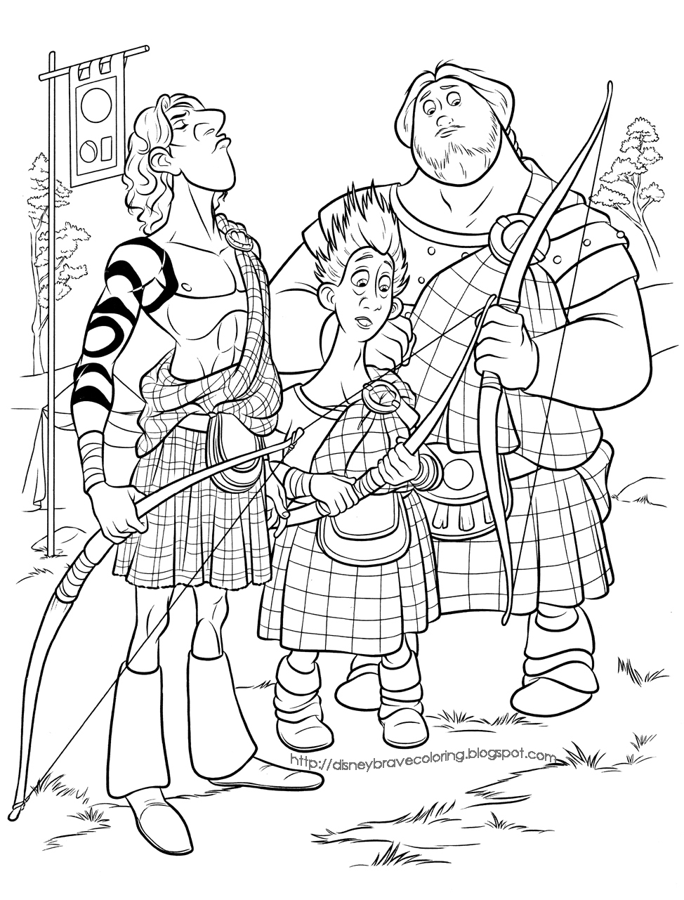 pixar brave coloring pages | BRAVE MERIDA COLORING PAGES