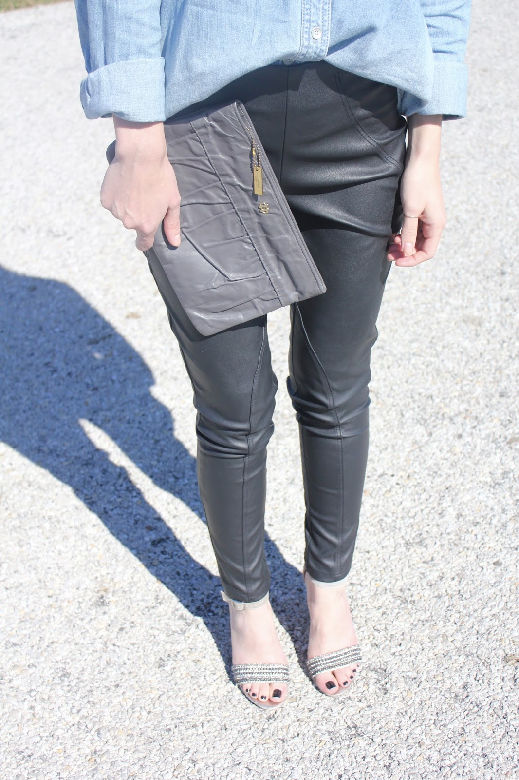 leather pants and clutch