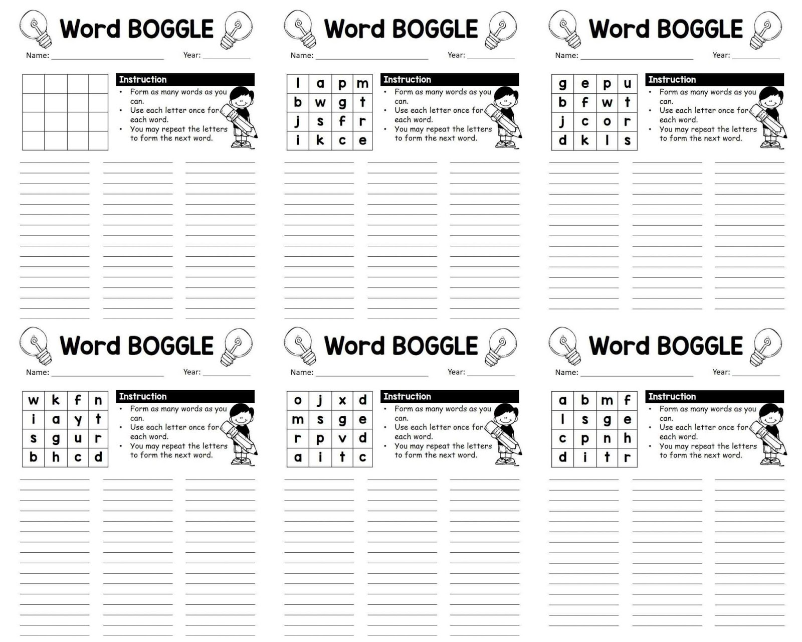 Download Word Boggle Worksheets