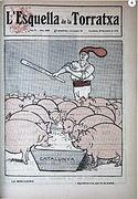 Portada del semanario L'Esquella de la Torratxa en la que las demás regiones de España son representadas como cerdos comiendo de Cataluña.