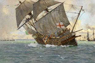 www.fertilmente.com.br - Mary Rose emborcando na batalha de solent, foi a prova de que armas novas precisavam também de navios novos