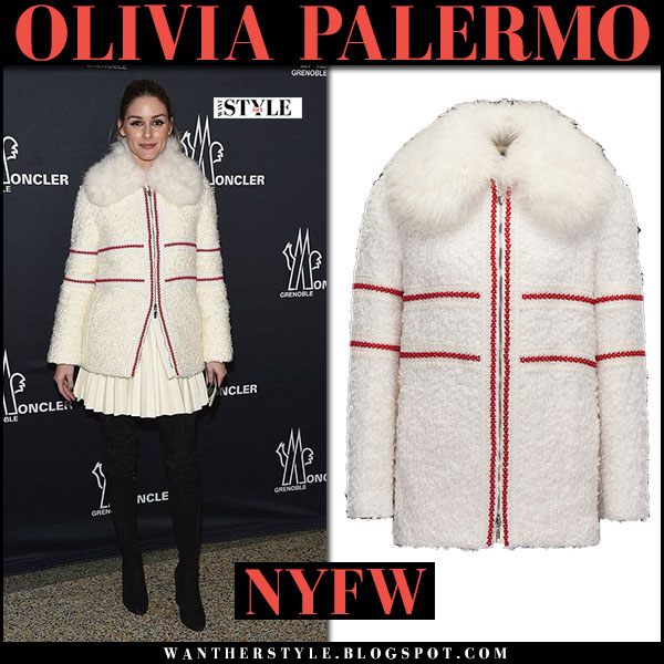 Olivia Palermo in cream wool fur collar coat with red trim moncler inga what she wore nyfw outfits