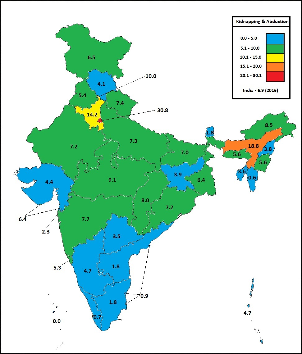 kidnapping and abduction rate in indian states