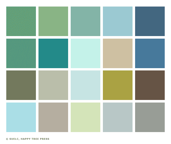 Little sunny studio color palette 1950s Blue and green colour scheme