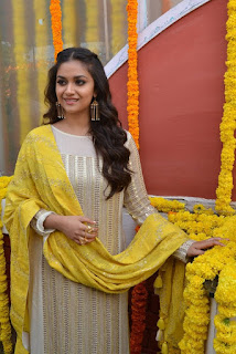 Keerthy Suresh in Yellow With Cute and Lovely Smile for New Movie Launch 5