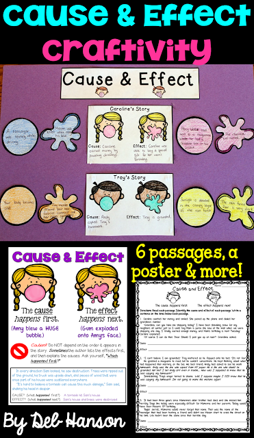 Cause and Effect craftivity for the upper elementary classroom! This cause and effect activity becomes a great reading bulletin board when finished! It includes a cause and effect anchor chart!