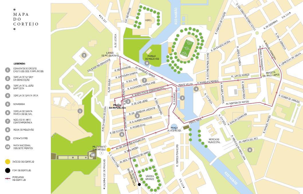 mapa da cidade de tomar Tomar, a Cidade: Festa dos Tabuleiros   Mapa do cortejo mapa da cidade de tomar