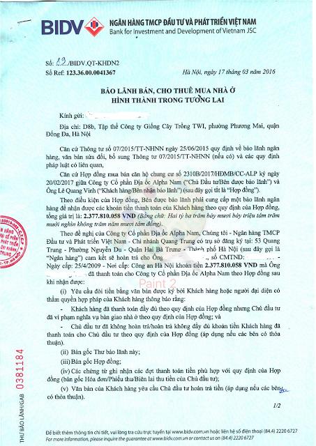 Chứng thư bảo lãnh dự án Luxury Apartment Đà Nẵng