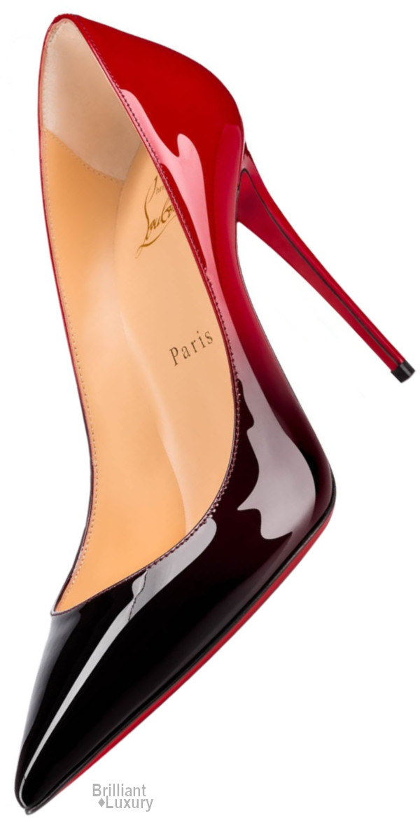 Brilliant Luxury♦Christian Louboutin Kate Black To Red Colored Patent Leather Stiletto Pump