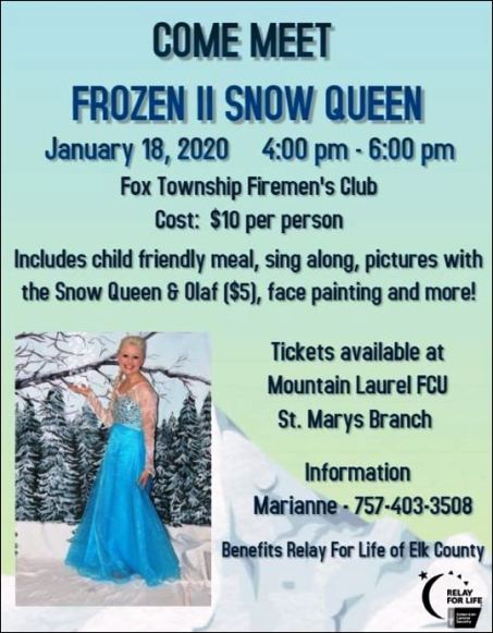 1-18 Meet Frozen II Snow Queen, Fox Twp. Fire Club