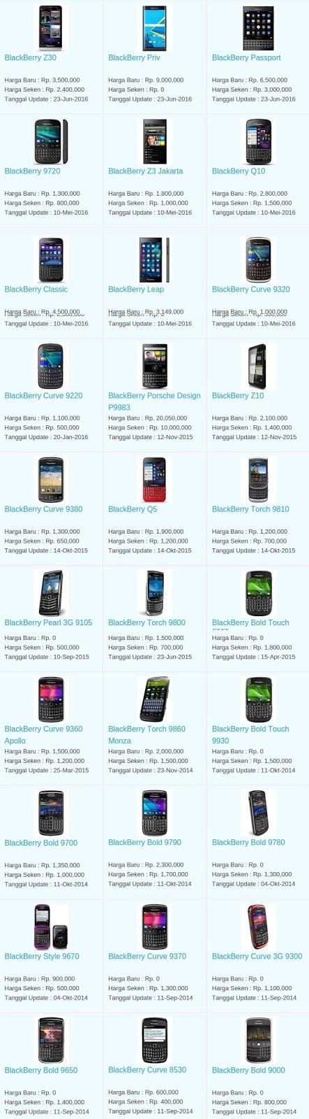 Daftar Harga Hp Terbaru Blackberry Juli 2016